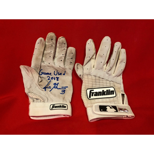 "Photo of Scooter Gennett -- Autographed Batting Gloves -- Inscribed as ""Game Used 2018"""