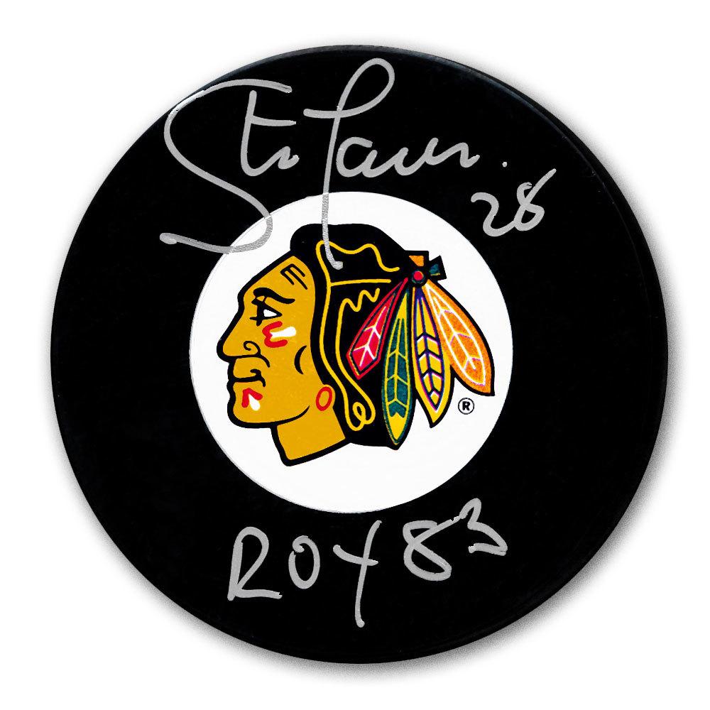 Steve Larmer Chicago Blackhawks 1983 ROY Autographed Puck