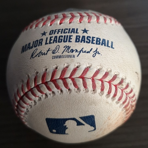 Photo of Authenticated Game Used Baseball: Single by Yordan Alvarez against Jason Adam (Aug 30, 19 vs HOU). Top 6.
