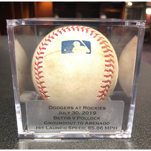 Photo of Colorado Rockies Game-Used Baseball - Pitcher: Chad Bettis, Batter: A.J. Pollock (Groundout to Arenado) -July 30, 2019 vs Los Angeles Dodgers