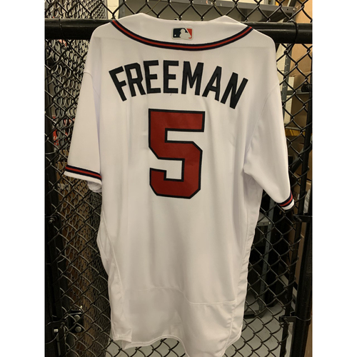 Photo of Freddie Freeman Game Used Playoff Jersey - Worn 10/3/19 and 10/9/19 - Home Run - Size 46