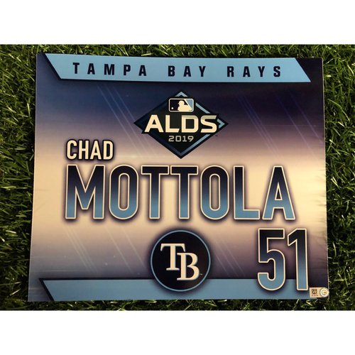 Photo of Game Used ALDS Locker Tag: Chad Mottola - October 7, 2019 v HOU