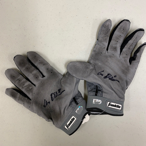Photo of Autographed Batting Gloves - signed by #8 Alex Dickerson - Gray & Black Franklin Batting Gloves