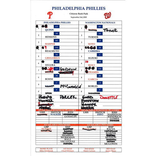 Photo of 2020 Phillies Game-Used Lineup Card - 09/03/20, Alec Bohm First Career Walk-Off
