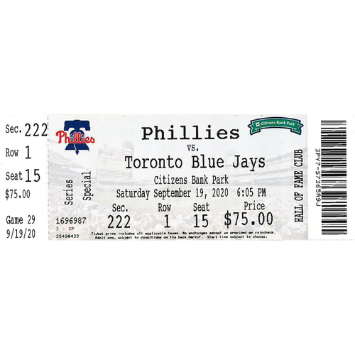 Photo of September 19, 2020 Ticket: Phillies vs. Blue Jays