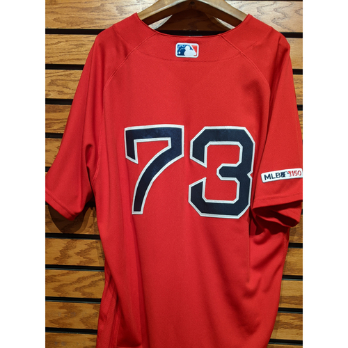Photo of Mike Shawaryn #73 Game Used Red Home Alternate Jersey