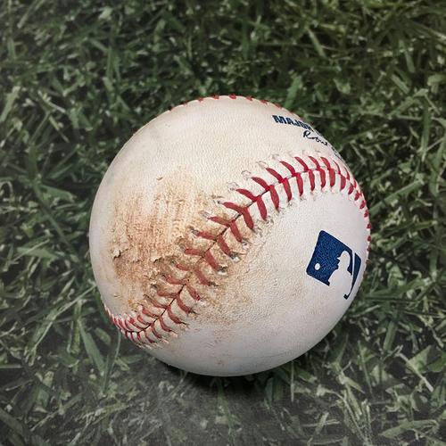 Photo of Game-Used Baseball COL@MIL 06/25/21 - Corbin Burnes - Yonathan Daza: Strikeout