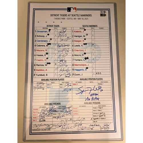 """Photo of Spencer Turnbull Autographed No Hitter Replica Dugout Lineup Card with """"No Hitter"""" Inscription (MLB AUTHENTICATED)"""
