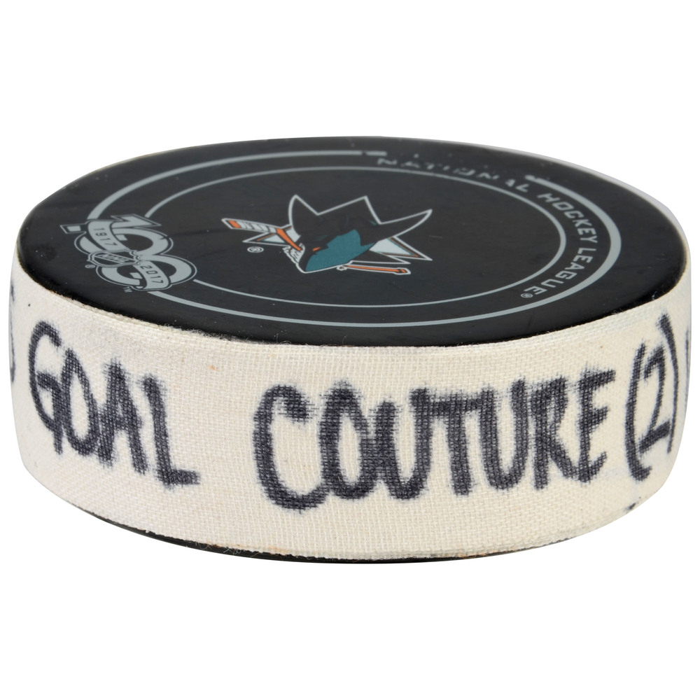 Logan Couture San Jose Sharks Game-Used Goal Puck from April 18, 2017 vs. Edmonton Oilers - Second Goal of Two Goals Scored