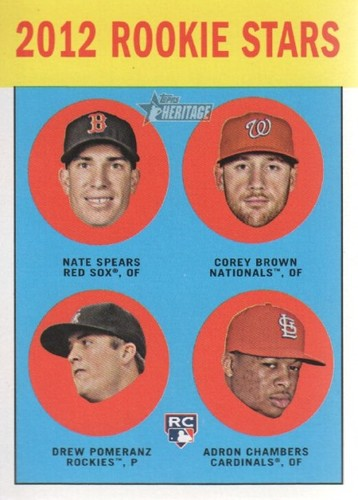 Photo of 2012 Topps Heritage #321 Drew Pomeranz RC/Nate Spears (RC)/Corey Brown RC/Adron Chambers RC