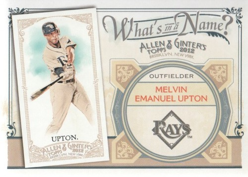 Photo of 2012 Topps Allen and Ginter What's in a Name #WIN76 Melvin Emanuel Upton