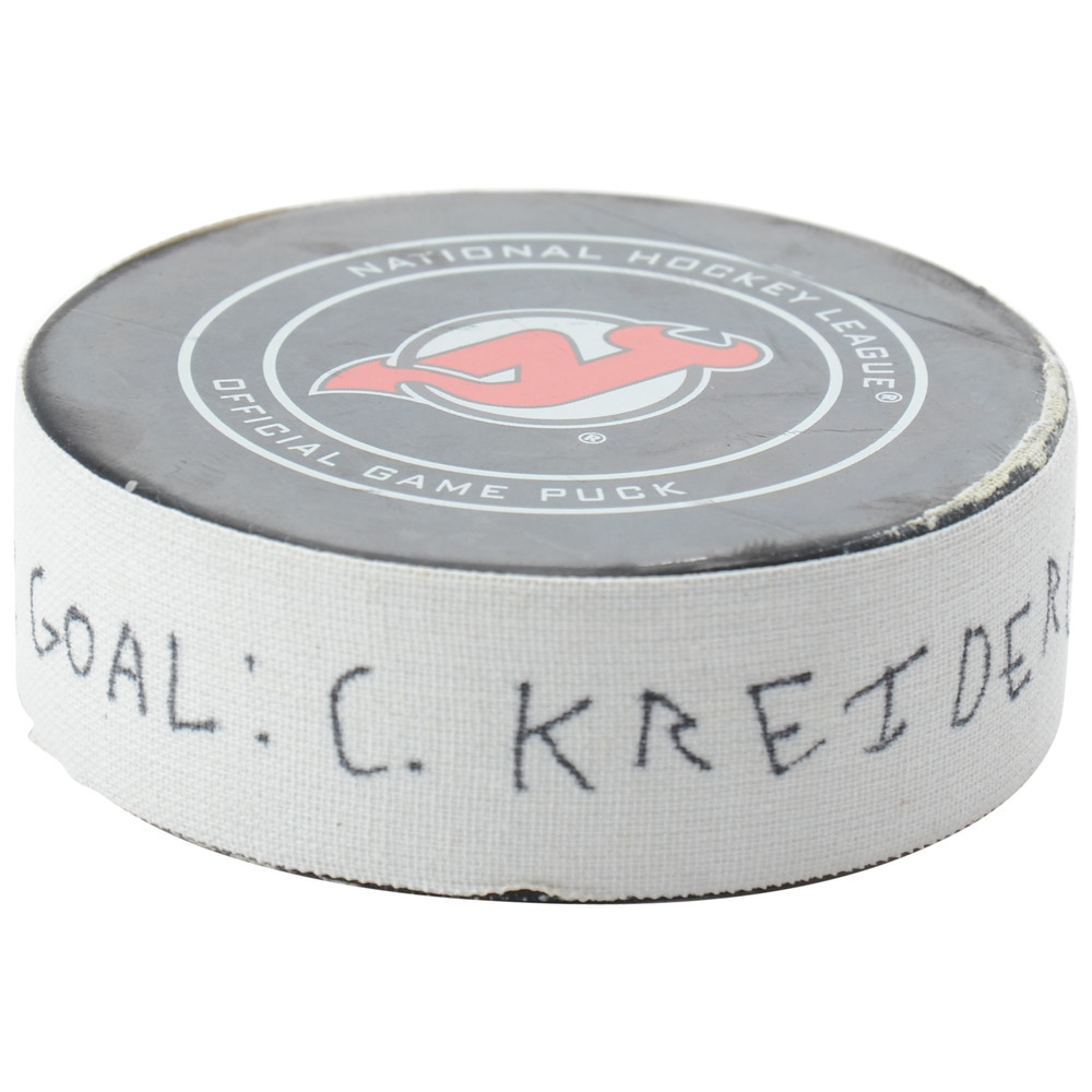 Chris Kreider New York Rangers Game-Used Goal Puck from January 31, 2019 @ New Jersey Devils