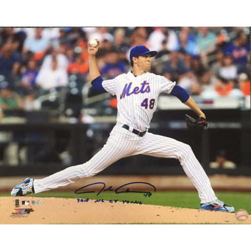 "Photo of Jacob deGrom Autographed ""2018 NL Cy Young"" 16x20"