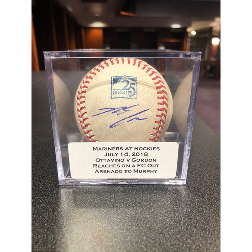 Photo of Colorado Rockies 25th Anniversary Game-Used and Autographed Nolan Arenado Baseball