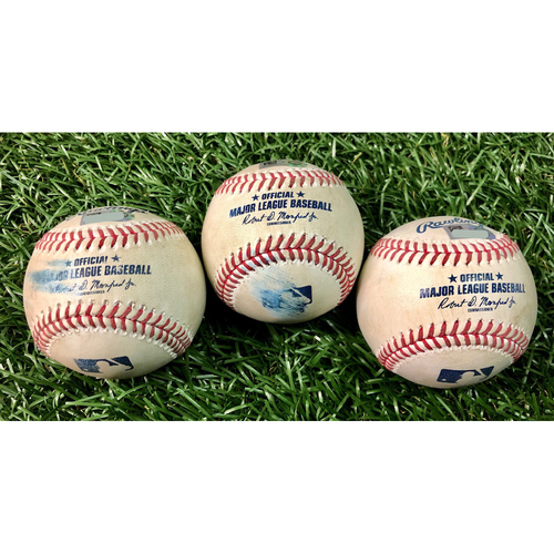 Photo of Game Used Baseball Package: Manuel Margot, Michael Brosseau & Yandy Diaz - August 25, 2020 v BAL