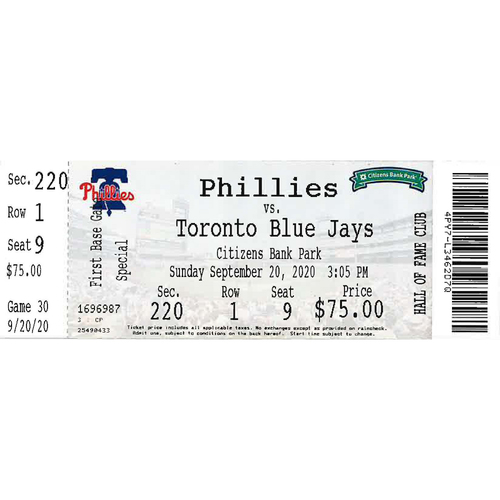 Photo of September 20, 2020 Ticket(Adonis Medina MLB debut): Phillies vs. Blue Jays