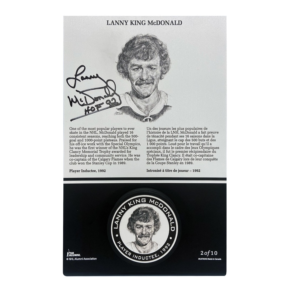 Lanny McDonald Autographed Legends Line Honoured Member Puck Stand - Limited Edition 2/10