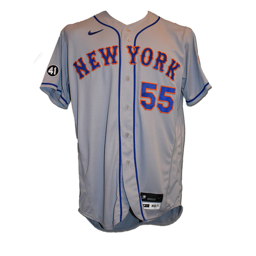Photo of Corey Oswalt #55 - Team Issued Road Grey Jersey with Seaver Patch - 2020 Season