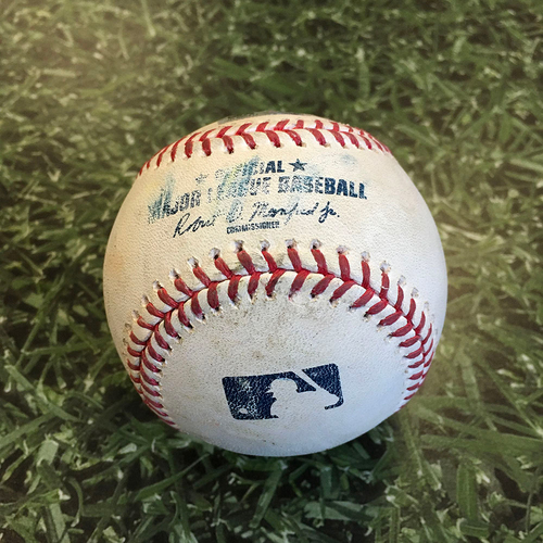 Photo of Game-Used Baseball DET@MIL 09/02/20 - Adrian Houser - Miguel Cabrera: Force Out