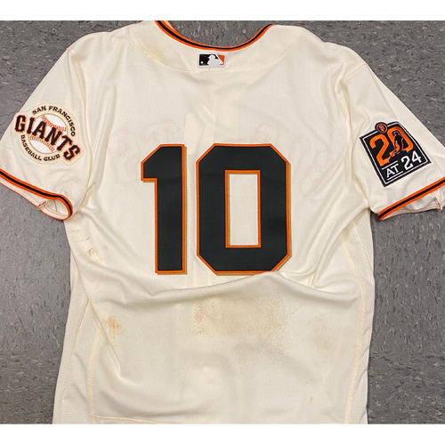Photo of 2020 Game Used Home Cream Jersey worn by #10 Evan Longoria on 7/30 vs. SD (1-4, RBI) - Size 44