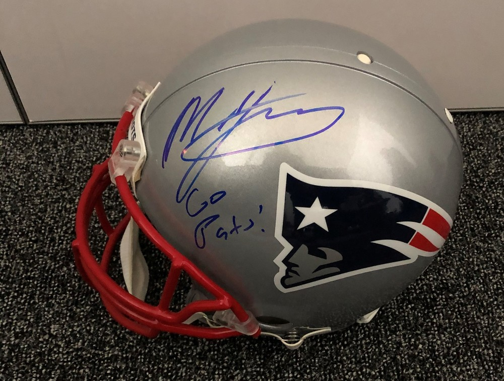Mac Jones Autographed Patriots Helmet - Signed Backstage at Draft - 1st Patriots item Jones signed after being drafted