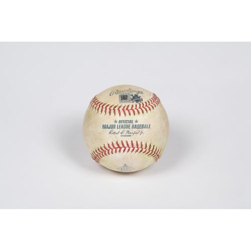 Photo of Game-Used Baseball: Pitcher: Dylan Bundy, Batter: Chris Taylor - Single - Top 4 - 5/08/21 - vs. LAD