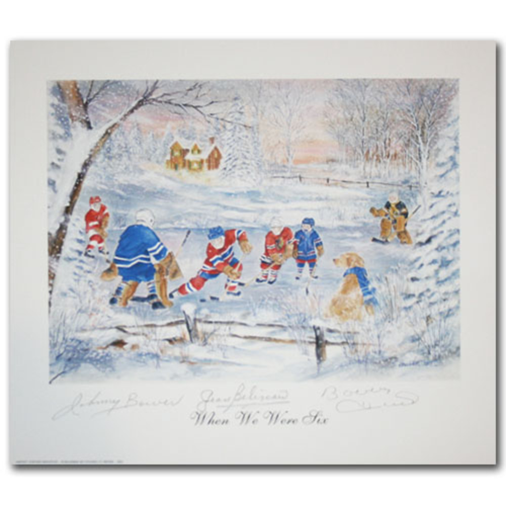 Johnny Bower, Jean Beliveau & Bobby Hull Autographed 10X12 Art Print - When We Were Six
