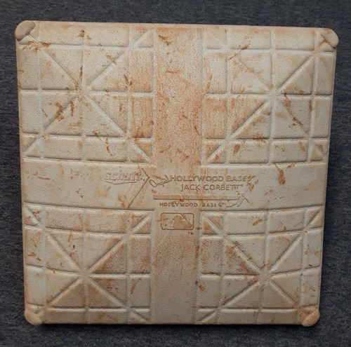 Photo of Authenticated Game Used Base - October 3, 2012. Omar Vizquel's Final Career MLB Game. Last Blue Jays Game of 2012 Season (2nd Base for Innings 6 to 9)
