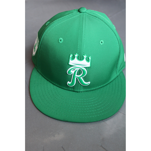 Photo of Game-Used St. Patrick's Day Cap: Eric Mejia (Size 7 1/8 - TEX at KC - 9/29/17)