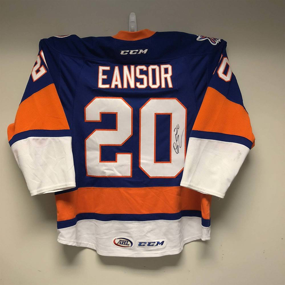 Bridgeport Sound Tigers Jersey Worn and Signed by #20 Scott Eansor