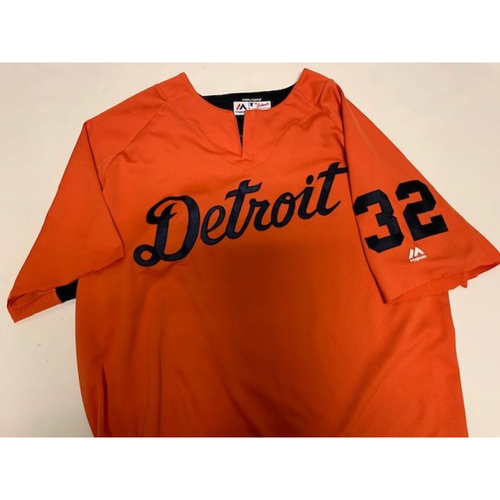 Photo of Team-Issued #32 Road Batting Practice Jersey (Sleeves are cut)