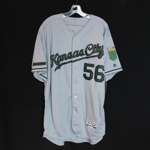 Photo of Game-Used Jersey: Brad Keller (Size 50 - KC @ TEX - 5/27/18)