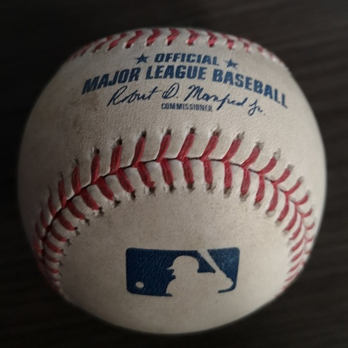 Photo of Authenticated Game Used Baseball: Double by Yulieski Gurriel against Jason Adam (Aug 30, 19 vs HOU). Top 6.