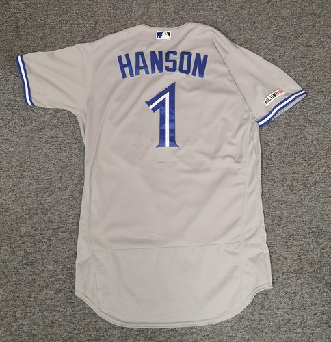 Photo of Authenticated Game Used Jersey: #1 Alen Hanson (Apr 16, 19 vs MIN: 1-for-4 with 1 RBI). Size 44