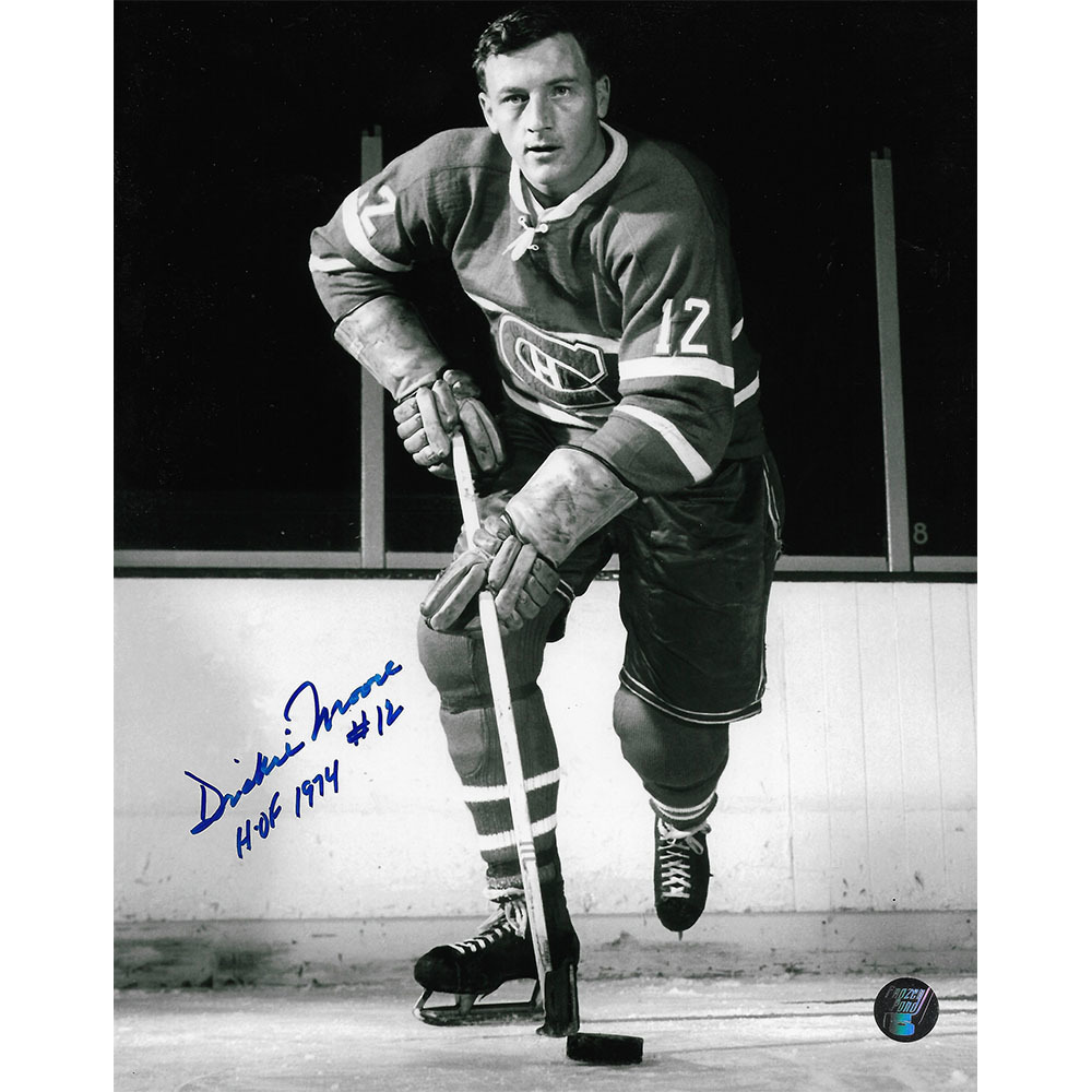 Dickie Moore Autographed Montreal Canadiens 8X10 Photo w/HOF 1974 Inscription