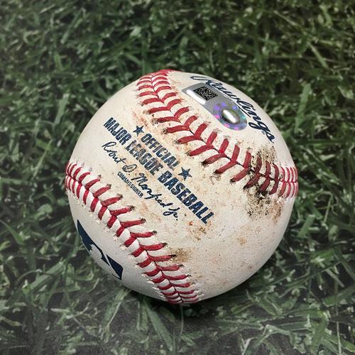 Photo of Game-Used Baseball COL@MIL 06/25/21 - Corbin Burnes - Charlie Blackmon: Single