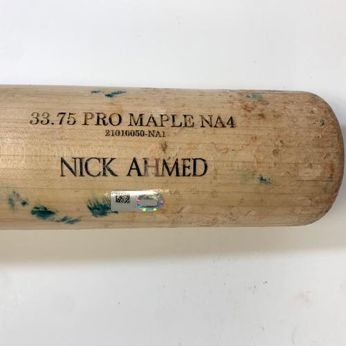 Photo of Nick Ahmed Game-Used Broken Bat vs. Jhoulys Chacin - Rockies @ D-backs 7/6/2021
