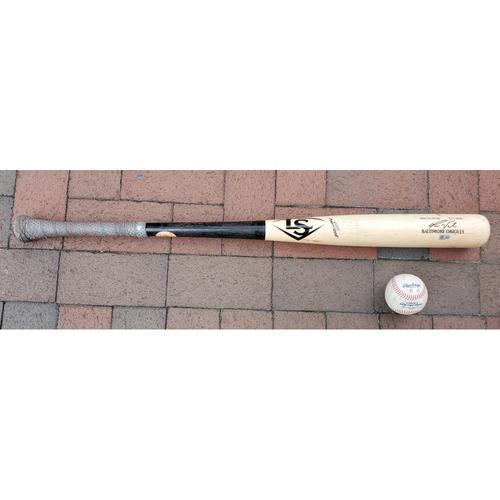 Photo of Pat Valaika: 2021 Game-Used Broken Bat and Baseball Combo