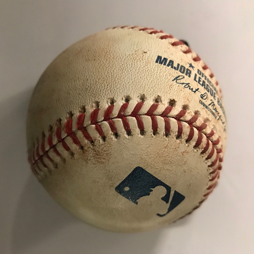 Photo of Andrew Benintendi Game-Used Hit Double Baseball - 9/3/2018