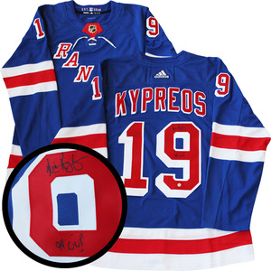 Nick Kypreos Signed Jersey Rangers Pro Blue 2017-2019 Adidas Inscr
