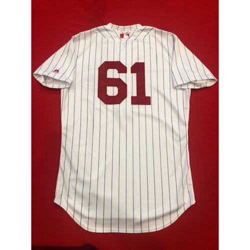 Photo of Jeff Pickler -- Game-Used Jersey -- 1919 Throwback Game -- Nationals vs. Reds on June 2, 2019 -- Jersey Size 42 / Pants Size 33-36-17