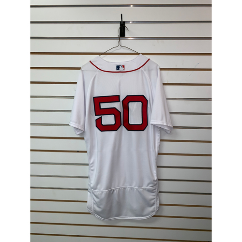Photo of Mookie Betts Team Issued 2018 Home Jersey