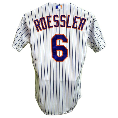 Photo of Pat Roessler #6 - Game Used White Pinstripe Jersey with 2015 Postseason Patch - NLDS Game 4 - Mets vs. Dodgers - 10/13/15