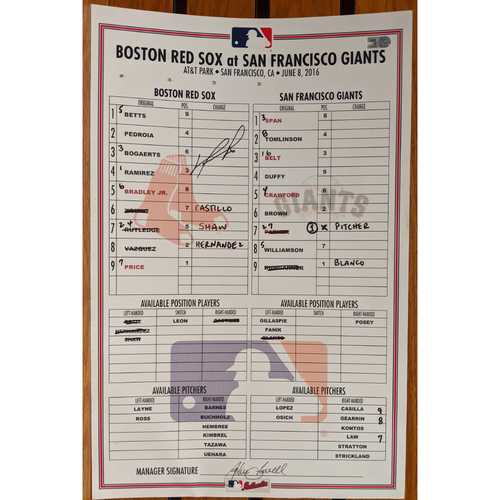 Photo of David Ortiz Autographed June 8, 2016 Game Used Lineup Card