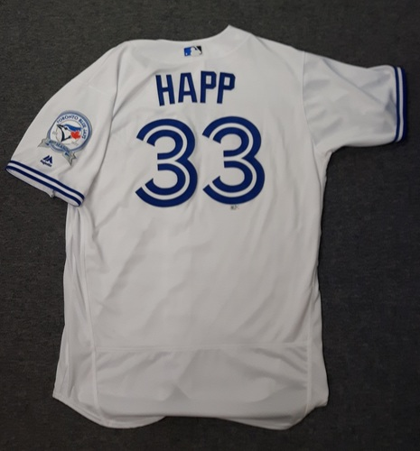 Photo of Authenticated Game Used Jersey - #33 J.A. Happ (July 29, 2016) - From 20 win season. Size 48