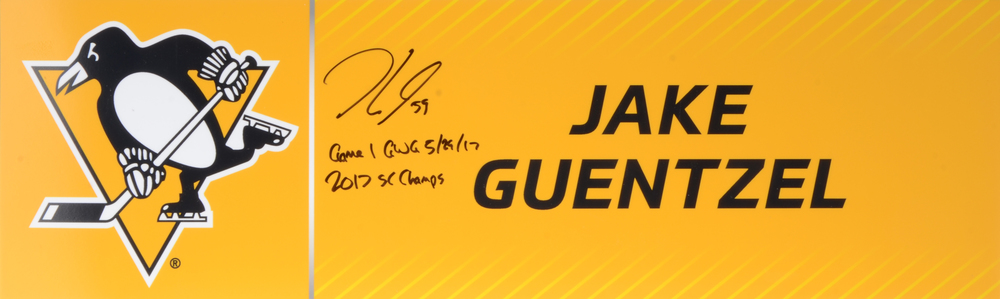 Jake Guentzel Autographed 2017 Stanley Cup Final Media Name Plate With Game 1 GWG 5/29/17, 2017 SC Champs Inscription- Pittsburgh Penguins