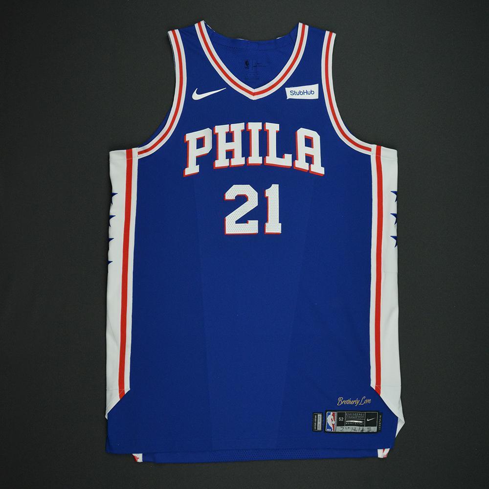 quality design ba2df 31170 Joel Embiid - Philadelphia 76ers - Kia NBA Tip-Off 2017 ...