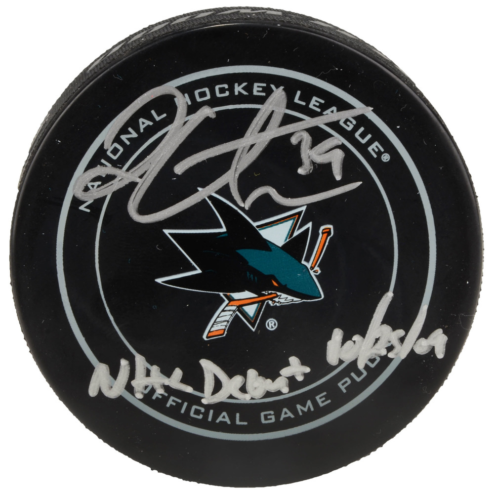 Logan Couture San Jose Sharks Autographed Official Game Puck with NHL Debut 10/25/09 Inscription