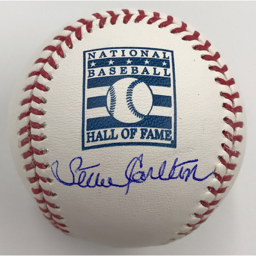 Photo of Steve Carlton Autographed Hall of Fame Logo Baseball