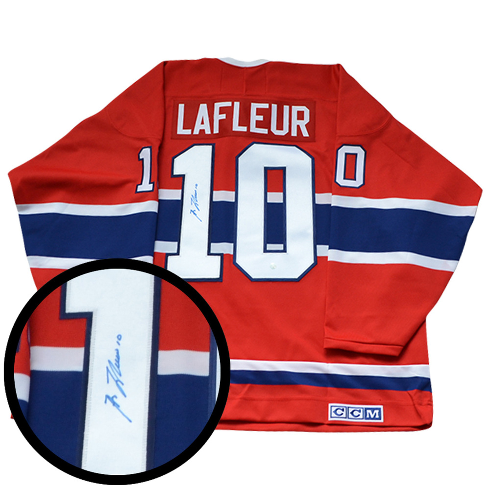 e1b7ee09367 Guy Lafleur Signed Jersey Canadiens Replica Red 1955 Vintage CCM ...